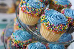 Great simple decorating idea of boys birthday cupcakes