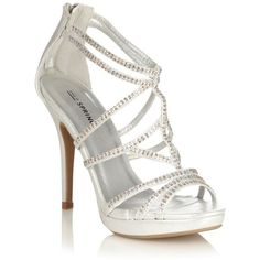 Silver High Heeled Open Toed Sandals With Diamant Straps Silver High Heel Sandals, Prom Heels, Metallic Sandals, Embellished Sandals, Strappy Sandals Heels, Silver Heels, Shoes Heels, Sandals Platform, Strap Sandals