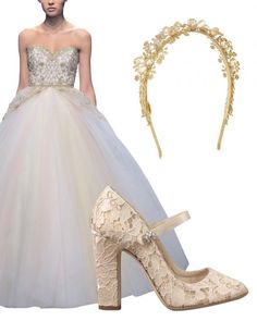 While the wedding may have been held in Great Britain, it was in Italy that Trudie put together her bridal ensemble. She turned to designer Gianni Versace for her haute couture creation that took his atelier nearly two months to complete. Gold hand-embroidered blooms and beading struck a regal note on the white satin off-the-shoulder ballgown, with layers and layers and even more layers of petticoats beneath. Too poufy for today? Perhaps. Modernize the voluminous silhouette by balancing a…