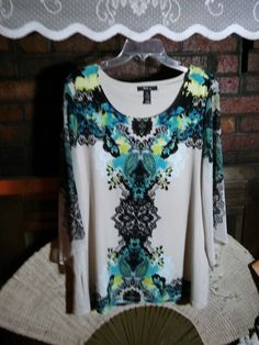 Style & Co. Petite XL Multi Color Blouse Sheer Sleeves Polyester Blend EUC #Styleco #Blouse #EveningOccasion