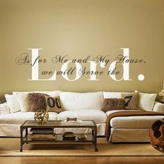 Amazon.com - Monogram Wall Decal Vinyl Wall Quote Bible Verse Decal Religious Wall Sticker Wall Phrase Wall Words Wall Mural Wall Graphic Home Art Decoration 2(the word- Lord:White;the rest words:Dark Brown) -