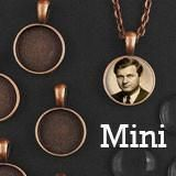 """20 Pack 16mm Mini Copper Glass Photo Pendants & 18"""" Link Chain Necklaces Supply Pack"""