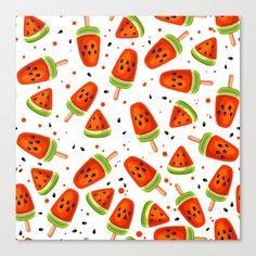 Watermelon pattern Canvas Print by katerinamitkova Painting Patterns, Fabric Painting, Fabric Paint Designs, Fruit Print, Frozen Fruit, Watermelon, Pattern Design, Cool Designs, Dessert