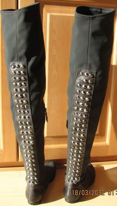 NWD Lisa  Donald Pliner over the knee gray stretch fabric boots with studs 6 M #DonaldPliner #FashionOvertheKnee