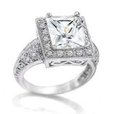 Bling Jewelry Victorian 3 Carat Clear CZ Classic Engagement Ring