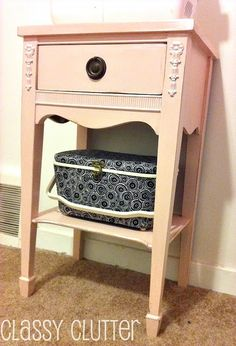End table to sewing storage