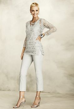 Style Cue: Shimmery Neutrals with Chic Embellishments and Peek-A-Boo Crochet #chicos