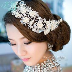 インポート合金メッキパールクリスタルブライダル頭飾りティアラ結婚式のヘアアクセサリーヘアアクセサリー花嫁