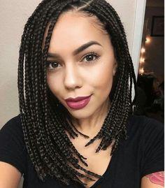Braids in a bob/lob hairstyle