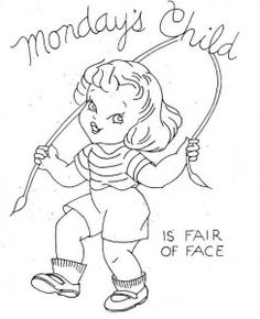 Monday's child is fair of face. Girl jumping rope.