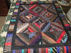 Men's tie lap quilt using approximately 40 ties.