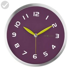 DecoMates Non-Ticking Silent Wall Clock, Early Spring, Purple Plum - Improve your home (*Amazon Partner-Link)