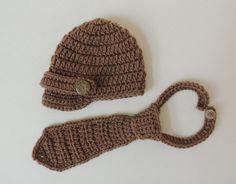 Crochet Newborn Hat, Crochet Newsboy Hat and Necktie, Crochet Baby Boy Hat, Photo Prop (more colors). $30.00, via Etsy.