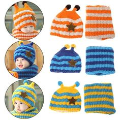 Knitted Set Kids Scarf Hat Woolen Children Bee Warm Winter Shawl Seamless  Wrap Baby Cap Cute Woolen Kids Hat Scarf Set a223101d1b22