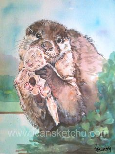 A super-proud otter and her baby.  :). Painting by Kerra Lindsey.