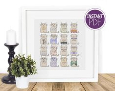 Cat Cross Stitch Pattern Cat Cross Stitch chart Modern Cat Cross Stitch Modern Counted Cross Stitch Just Cats by Peppermint Purple by PeppermintPurple now at http://ift.tt/2haEgEe