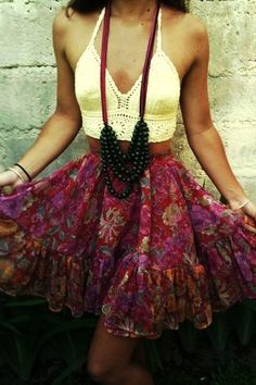 Crochet Midriff, Floral Gypsy Skirt and Long Chunky Necklace! Summer Fashion. Summer Outfit. Boho Outfit