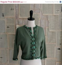Green Beaded and Cropped Sweater $40.00