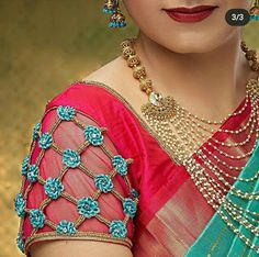 Saree Jacket Designs, Cutwork Blouse Designs, Cotton Saree Blouse Designs, Simple Blouse Designs, Embroidery Neck Designs, Aari Embroidery, Sari Blouse, Chudidhar Neck Designs, Blouse Back Neck Designs
