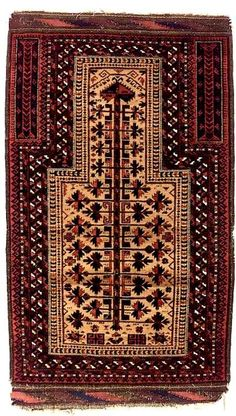 Baluch Rugs: Baluch Prayer Rug Persia last quarter 19th C Lot 142