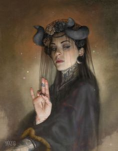 The Morrigan - Tom Bagshaw  These, and other hand symbols from Buddhism and from Paganism, are copied and incorporated into Catholic mythology.