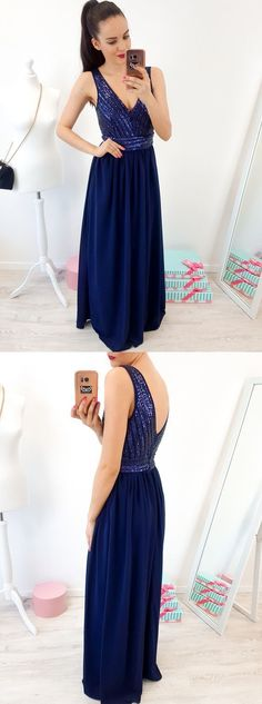 A-Line V-Neck Floor-Length Royal Blue Prom Dress with Sequins Royal Blue Prom Dresses, Cheap Prom Dresses, Formal Dresses, Two Piece Dress, Mermaid Dresses, Dress For You, Evening Gowns, Sequins, Floor