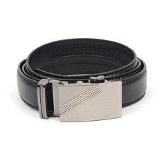 Black Leather Dress Belt w/Auto Lock Buckle
