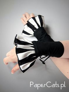Cuffs Black gloves steampunk stripes Gothic lolita corset punk. $15.00, via Etsy.