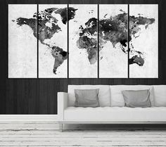 Large wall art blue agave canvas prints agave flower large art large canvas art set world map canvas art by extralargewallart freerunsca Images