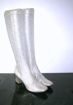 fba3af6a9d1 (for ANAHI) Vintage 1960s Silver go-go Space Age MOD Lurex Glittering  Metallic Lame Stretch knee high Chunky Heel Boots