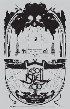 I was in the middle of a period where I was doing a lot of single-color pieces with a focus on symmetrical compositions. For this 2008 piece for former Drive-By Trucker Jason Isbell, I used visual allusionsfrom his standout DBT's tracks and his then-new solo material to create a poster to sum up a lot …