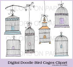 Digital Doodle Bird Cage Clip Art Instant by ColorsonPaper on Etsy, $4.00