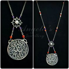 "Silver necklace with Rose quartz, Amythest and orange agate. ...""l am yours don't return me back to my self"" Rumi  أنا لك فلا تعدني الى نفسي ...جلال الدين الرومي"