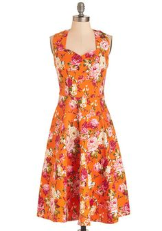 The Show Must Glow On Dress - Orange, Red, Floral, Print, Daytime Party, Pinup, 50s, 60s, A-line, Halter, Spring, Cotton, Woven, Vintage Inspired, Long