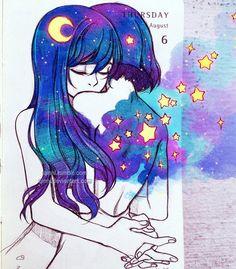 Imagen de art, hug, and stars