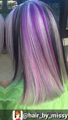 purple black gray dyed hair