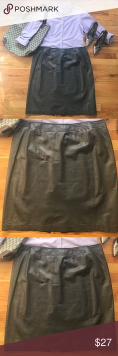 a9871ed41b Linda Allard Ellen Tracy Brown Leather Skirt Beautiful buttery soft leather  skirt in great used condition