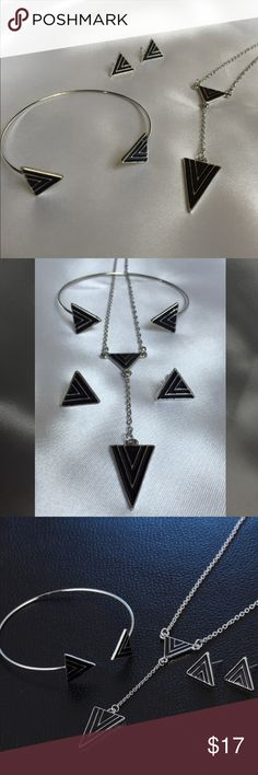 Triangle New Age Punk set Triangle New Age necklace, bracelet and earrings. Jewelry