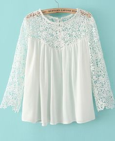 White Contrast Lace Long Sleeve Loose Blouse 16.00