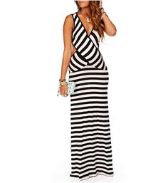 I must have this.   Black/White Stripe Maxi Dress