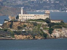Alcatraz Island as seen from Coit Tower In San Francicso