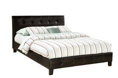 Rochester Modern Black PVC Platform Queen Bed