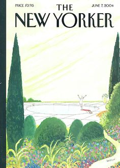 """The New Yorker - Monday, June 2004 - Issue # 4078 - Vol. 80 - N° 15 - Cover """"Dawn of a New Day"""" by """"Sempé"""" - Jean-Jacques Sempé The New Yorker, New Yorker Covers, Magazine Art, Magazine Covers, Word Pictures, Graphic Design Posters, Pretty Art, Comic Artist, Vintage Images"""