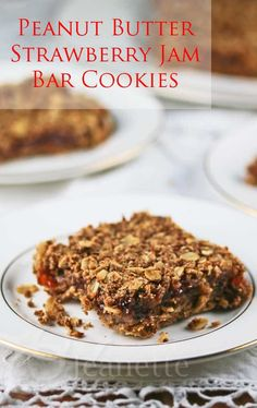 Peanut Butter and Jam Bar Cookies Recipe {Gluten-Free and Vegan} © Jeanette's Healthy Living #dessert #holidays #Christmas