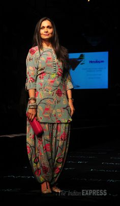 Arshad Warsi's wife Maria Goretti in a salwar-kameez on Day 5 at the Lakme Fashion Week Winter/Festive 2014.