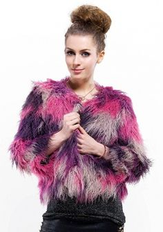 Eiffel fireworks Fashion/purple with fuchsia quality wool fur with middle sleeve /short coat