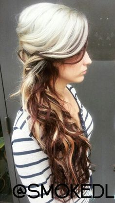 Blonde brown dyed two tone hair don't know that I could do blonde though