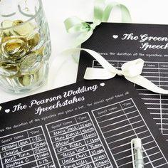 Personalised Wedding Speech Sweepstakes Board
