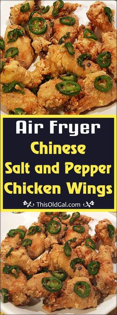With only a few ingredients, these Air Fryer Chinese Salt & Pepper Chicken Wings are big on flavor, like you get from an expensive Chinese restaurant! via This Old Gal Air Fryer Chinese Salt & Pepper Chicken Wings Lyss Uya Lyssuya Air fryer With on Chicken Wings Bbq, Air Fryer Recipes Chicken Wings, Air Fryer Fried Chicken, Cooking Chicken Wings, Air Fryer Oven Recipes, Air Fried Food, Chinese Fried Chicken Wings, Chinese Wings, Actifry Chicken Wings