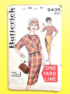 Early 60s Butterick 9436 Overblouse and Skirt  Women's Separates slim skirt Vintage Sewing Pattern Bust 36
